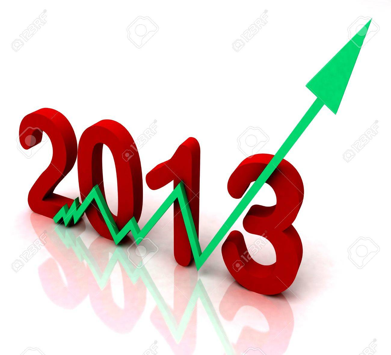 2013 Green Arrow Showing Sales Turnover For Year Stock Photo - 16517824