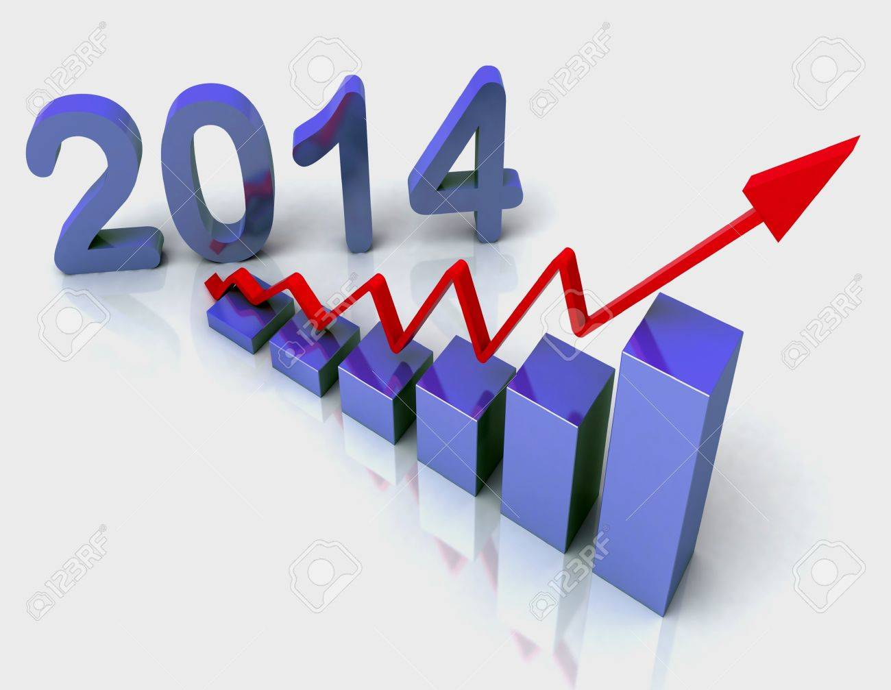 2014 Blue Bar Chart Showing Budget Versus Actual Stock Photo - 16517767