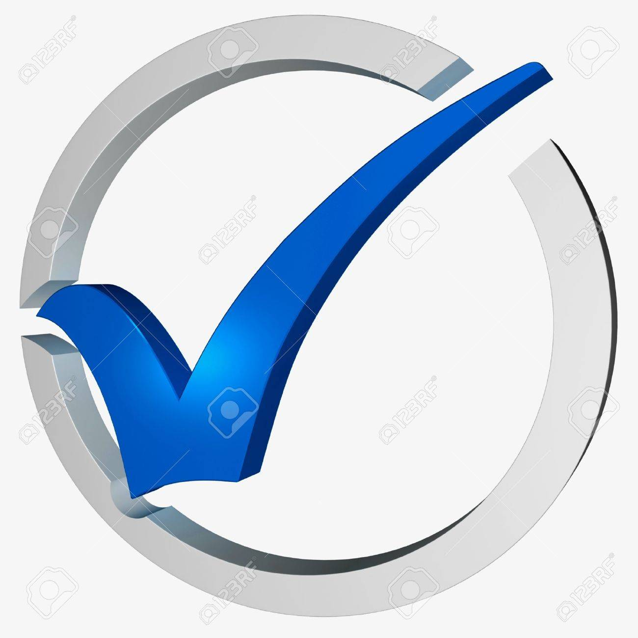 Blue Tick Circled Showing Checked Verified Excellence Guaranteed Stock Photo - 16517868