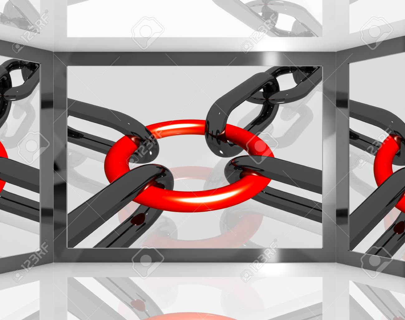 Chains Joint On Screen Showing Teamwork And Unity Stock Photo - 16936606