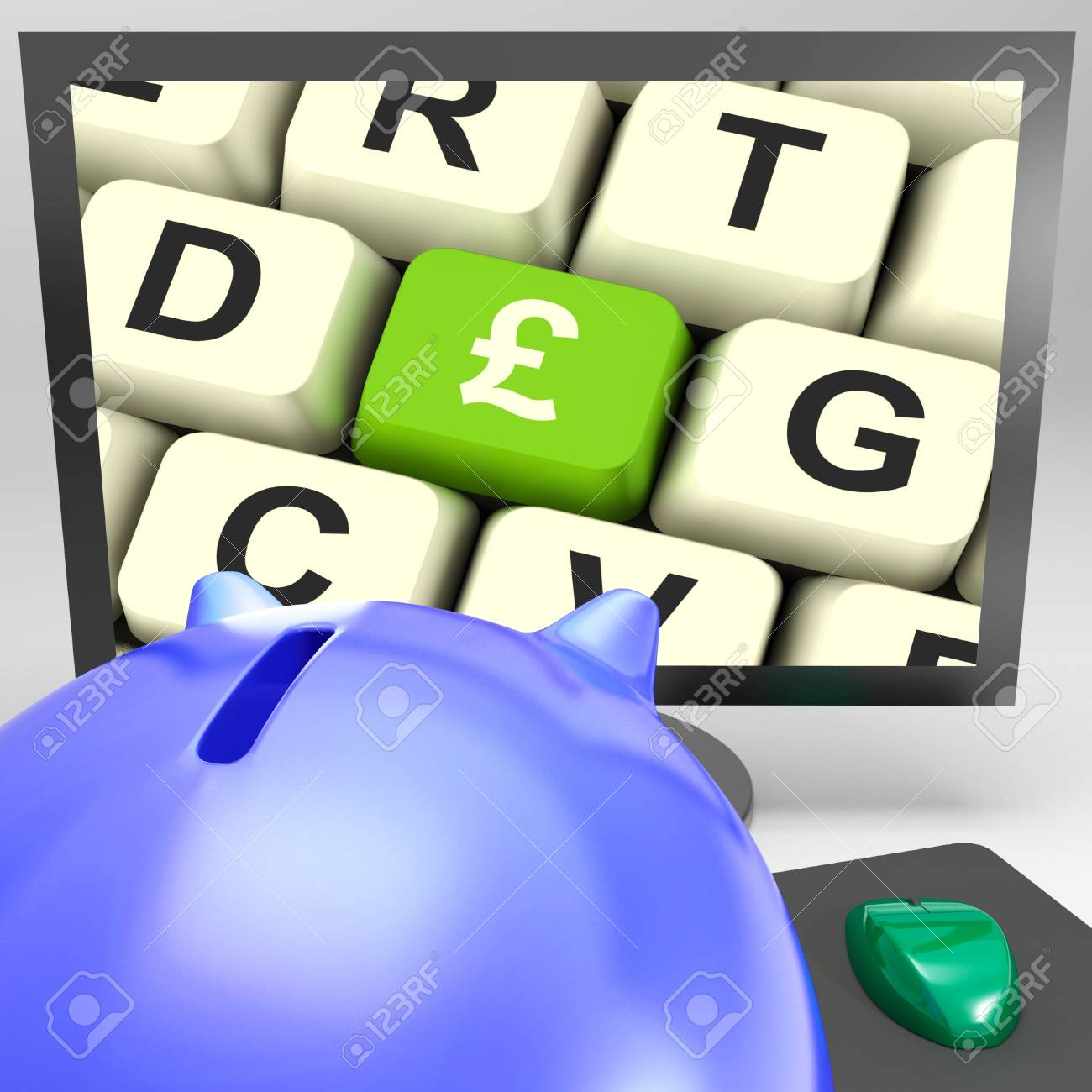Pound Key On Monitor Showing Britain Prosperity And Finances Stock Photo - 18039779