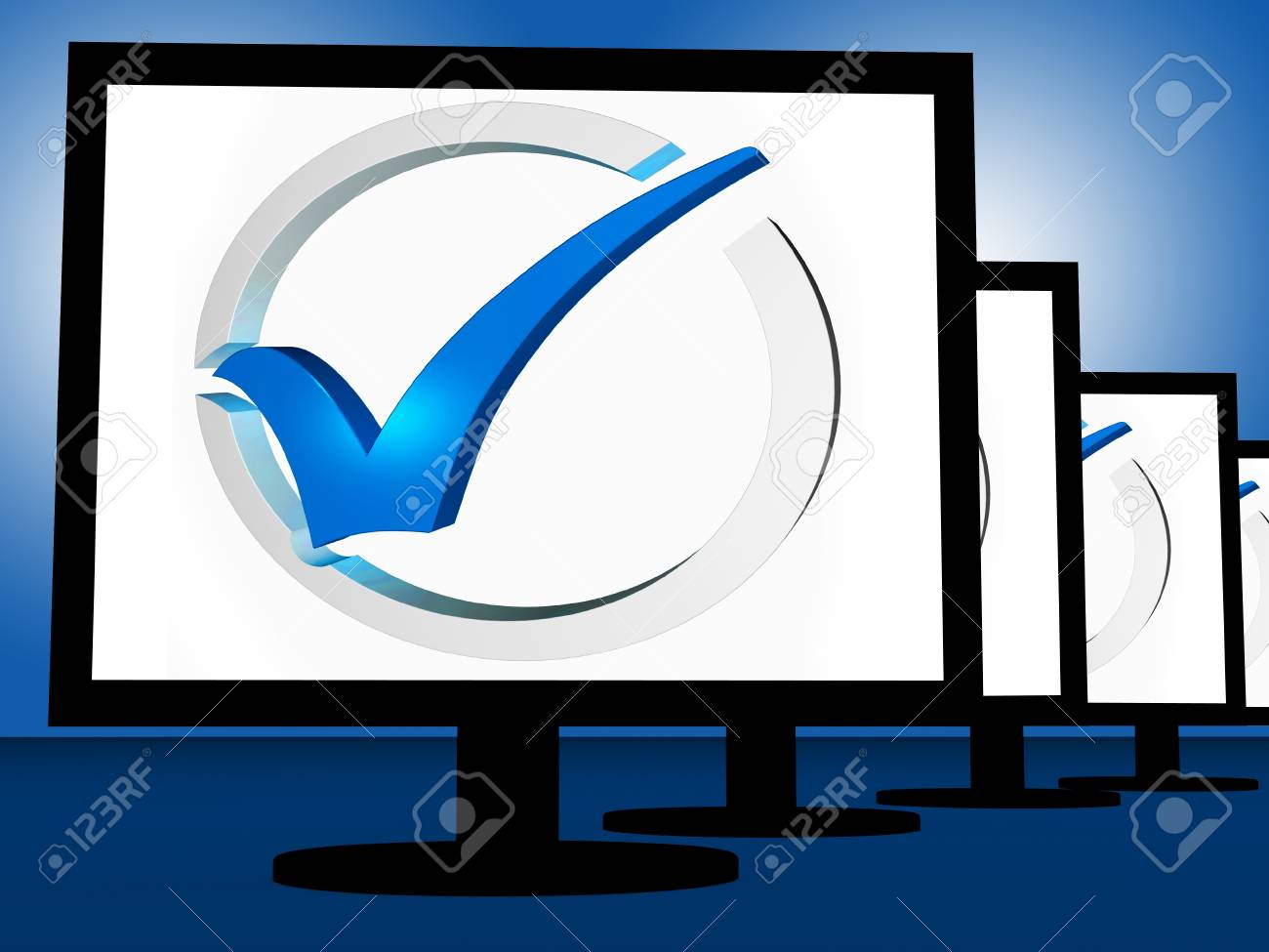 Check Mark On Monitors Shows User's Satisfaction Or Acceptance Stock Photo - 18407178