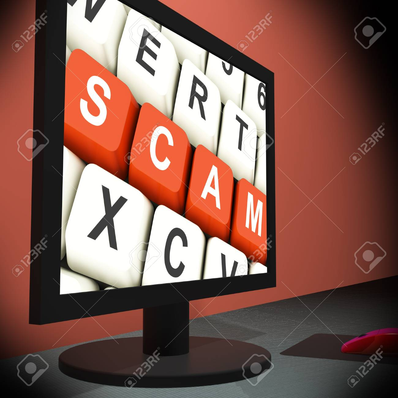 Scam On Monitor Showing Schemes And Deceits Stock Photo - 18407397