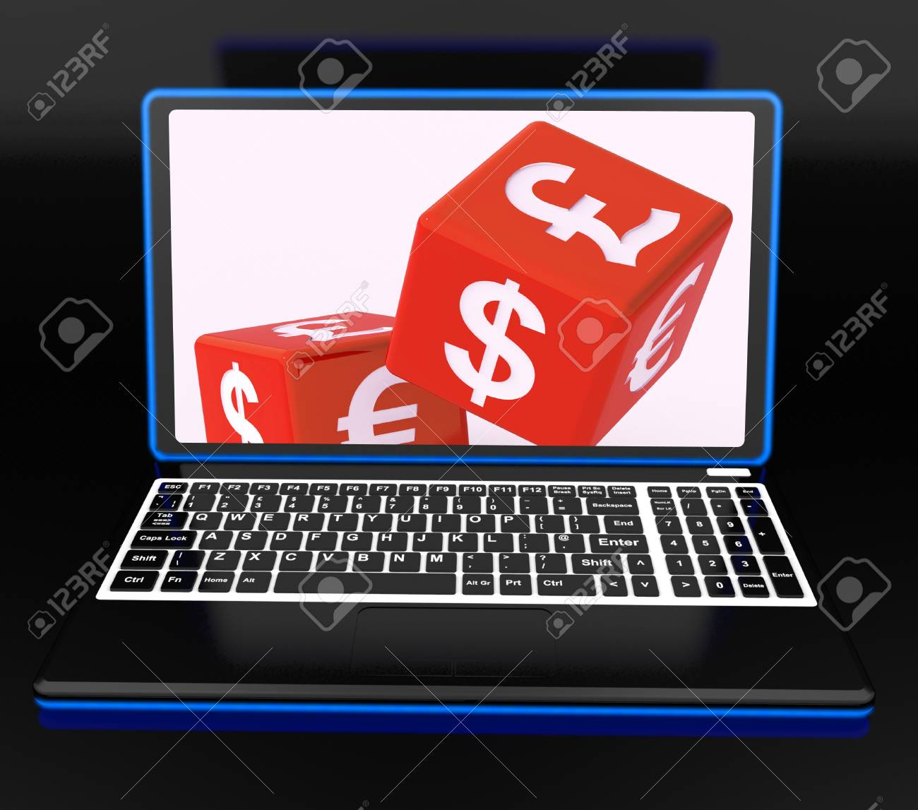 Currencies Dices On Laptop Showing Global Finances And Forex Stock Photo - 18407693