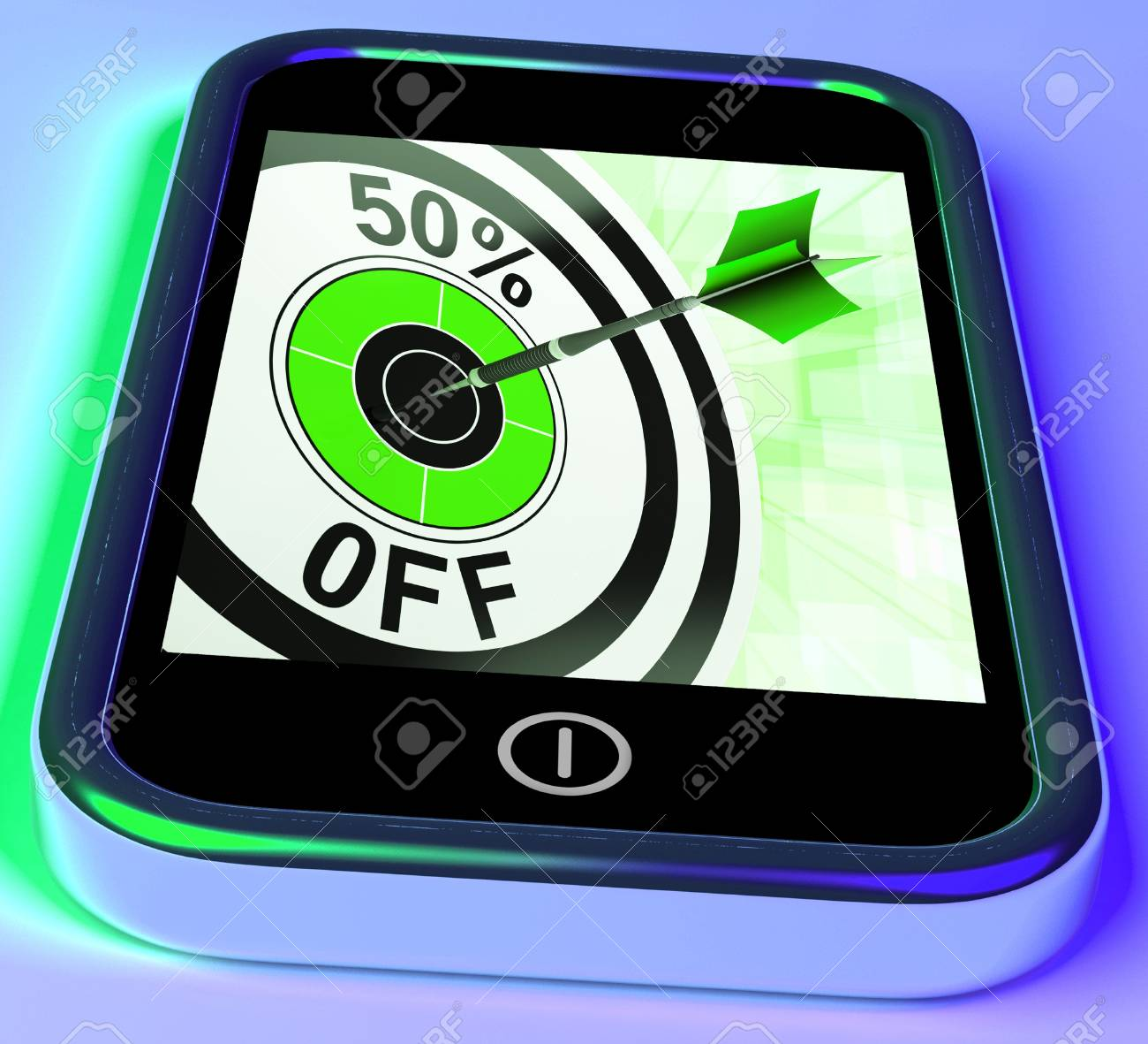50 Percent Off On Smartphone Showing Great Offers And Savings Stock Photo - 18407775