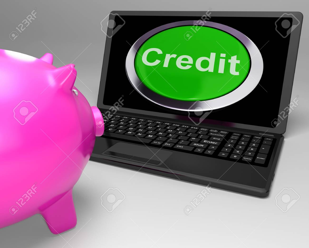 Credit Button On Laptop Shows Financial Loan Or Money Borrowed Stock Photo - 18407801