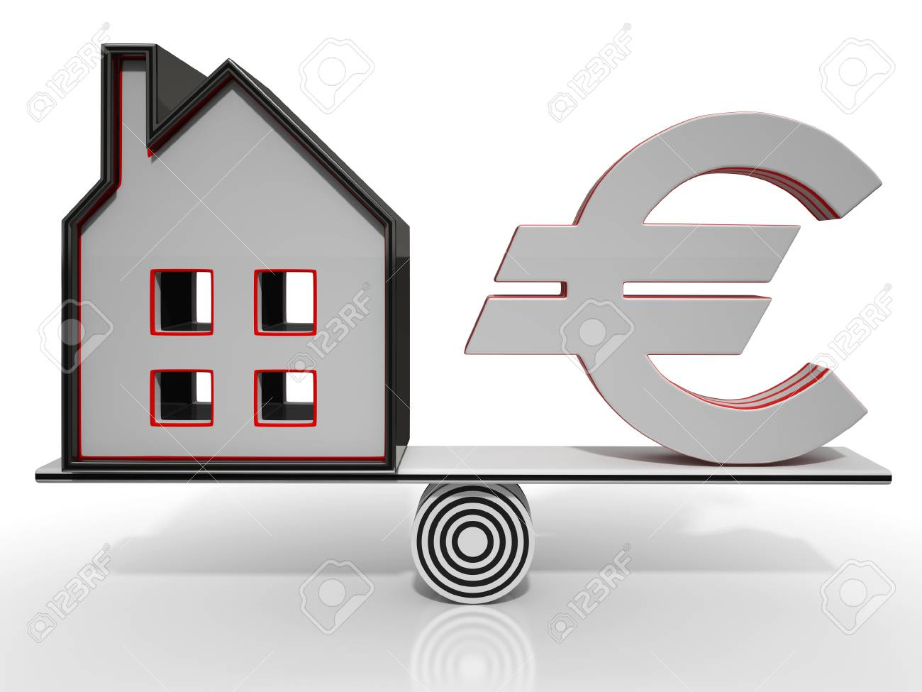 House And Euro Balancing Showing Investment Or Mortgage Stock Photo - 22675482