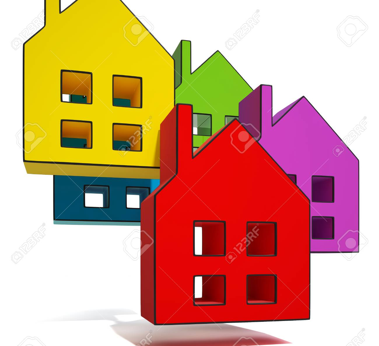 House Symbols Showing Houses Or Homes For Sale Stock Photo - 22675518