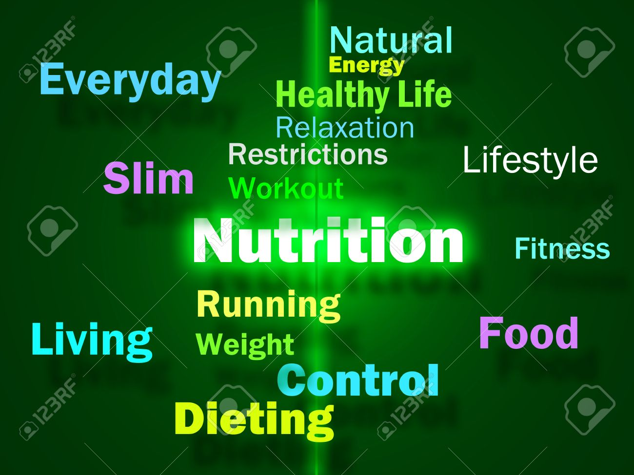 nutrition words showing healthy food vitamins nutrients and