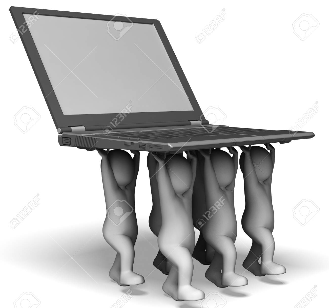 Laptop And Characters Shows Web Programming And Surfing Online Stock Photo - 22640668