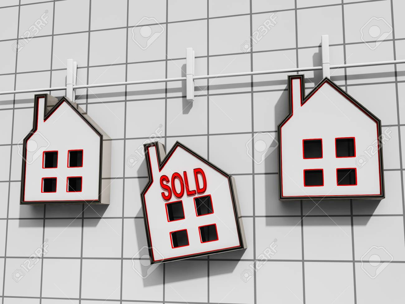 Sold House Meaning Sale Of Real Estate Stock Photo - 22702065