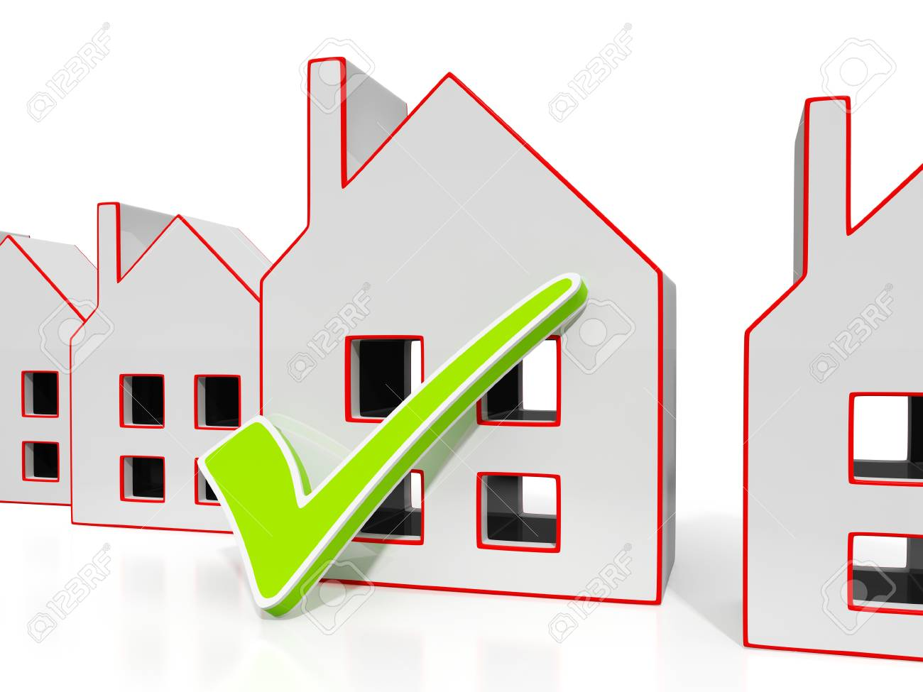 House Icons With Tick Showing House Or Building For Sale Stock Photo - 22640155