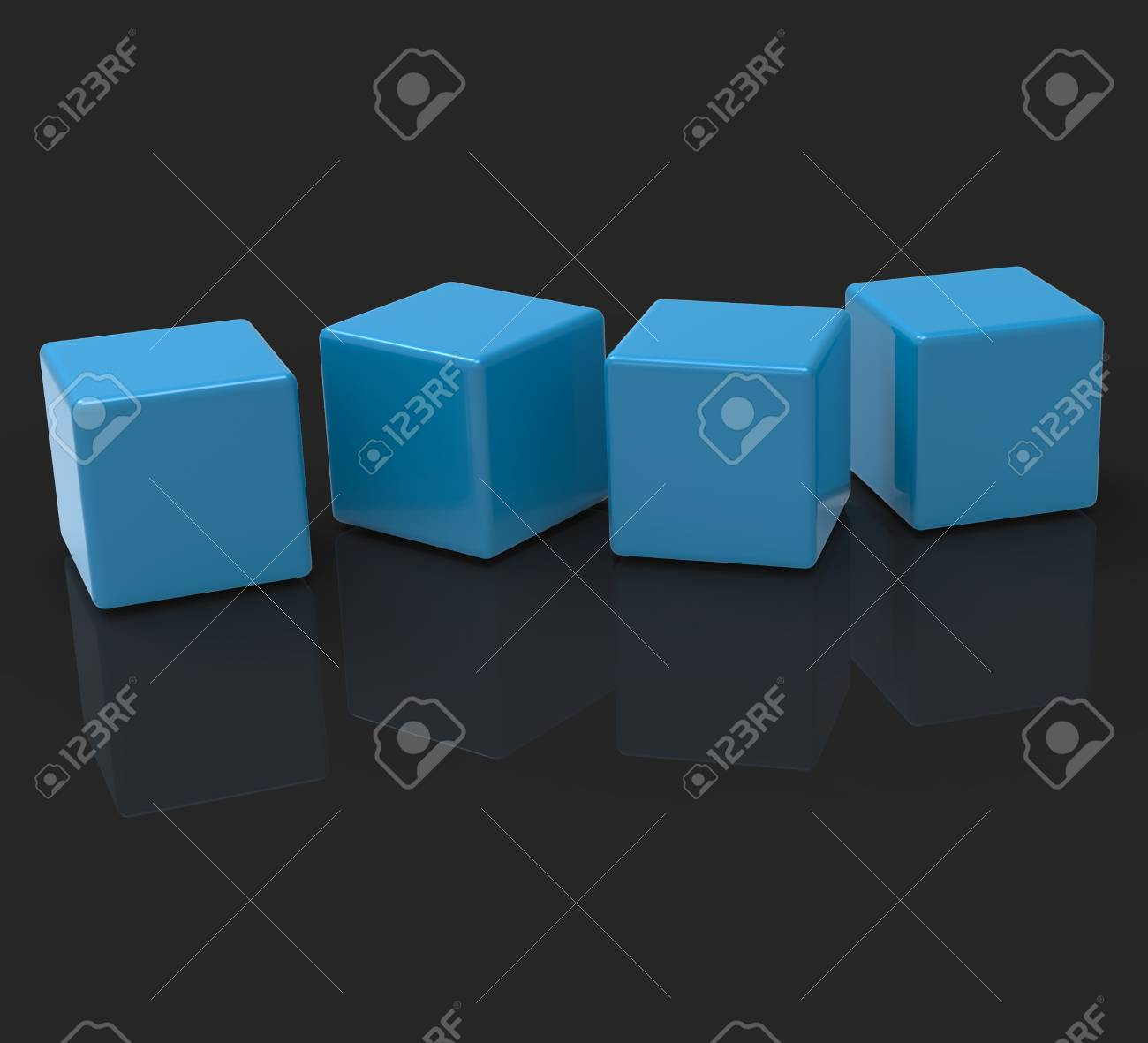 Four Blank Blocks Showing Copyspace For 4 Letter Word Stock Photo