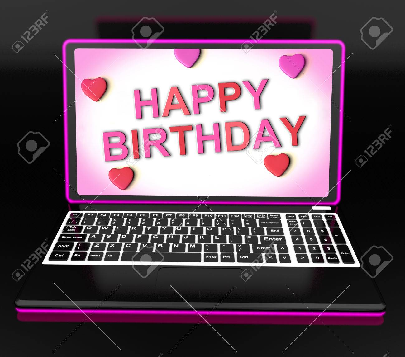 Happy Birthday Message On Computer Showing Internet Greeting Stock