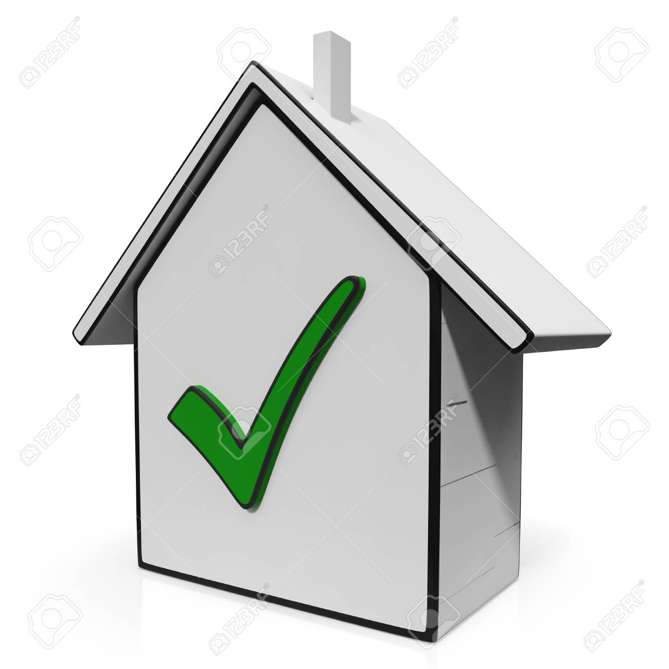 Home Icons With Check Shows House Or Building For Sale Stock Photo - 22640882