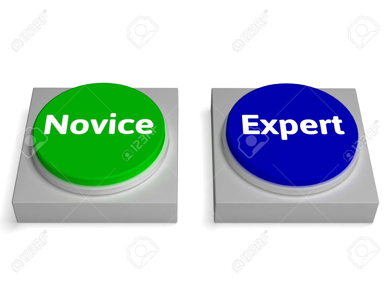 novice expert buttons showing beginner and expertise stock photo