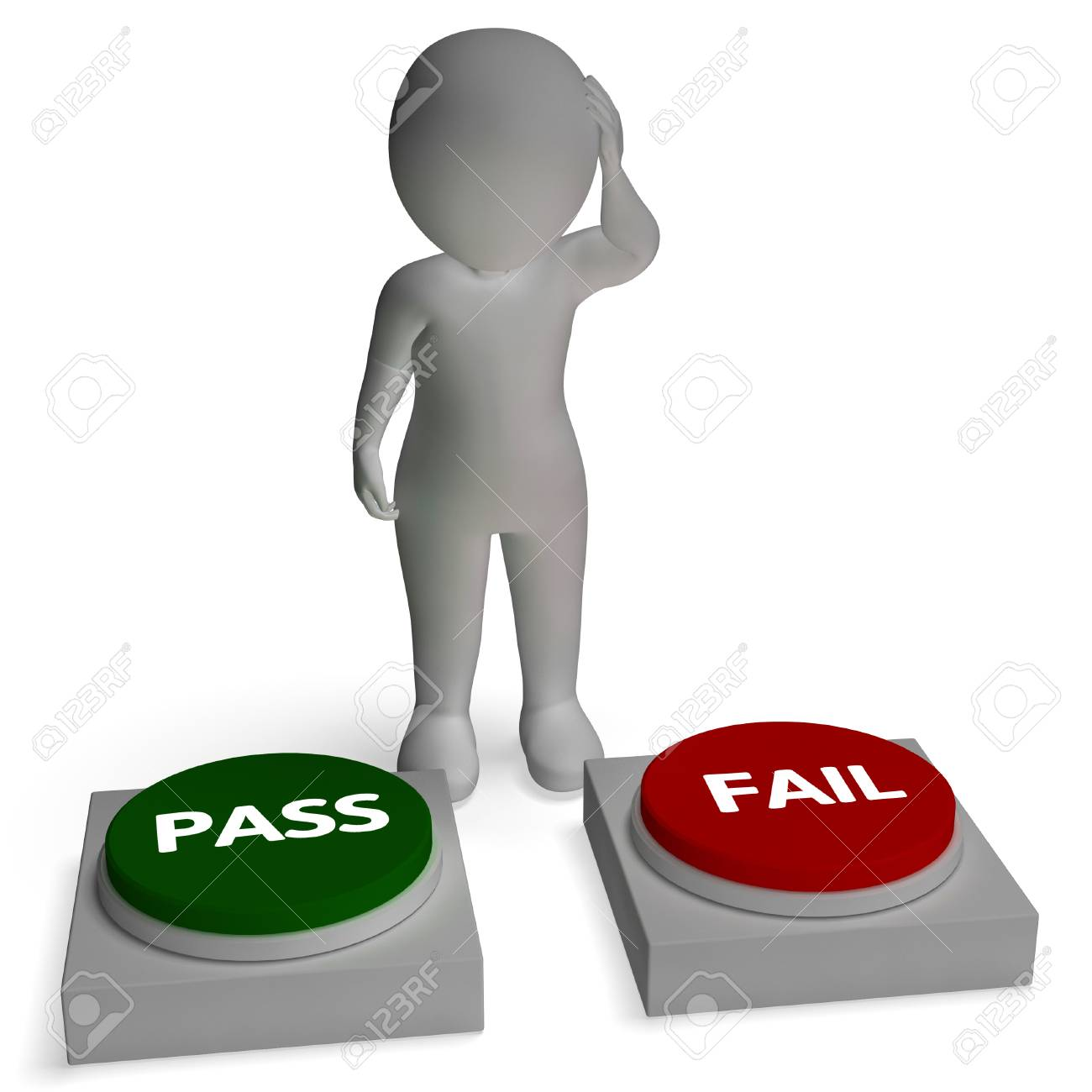 Pass Fail Buttons Shows Passing Or Failure Stock Photo - 26064152