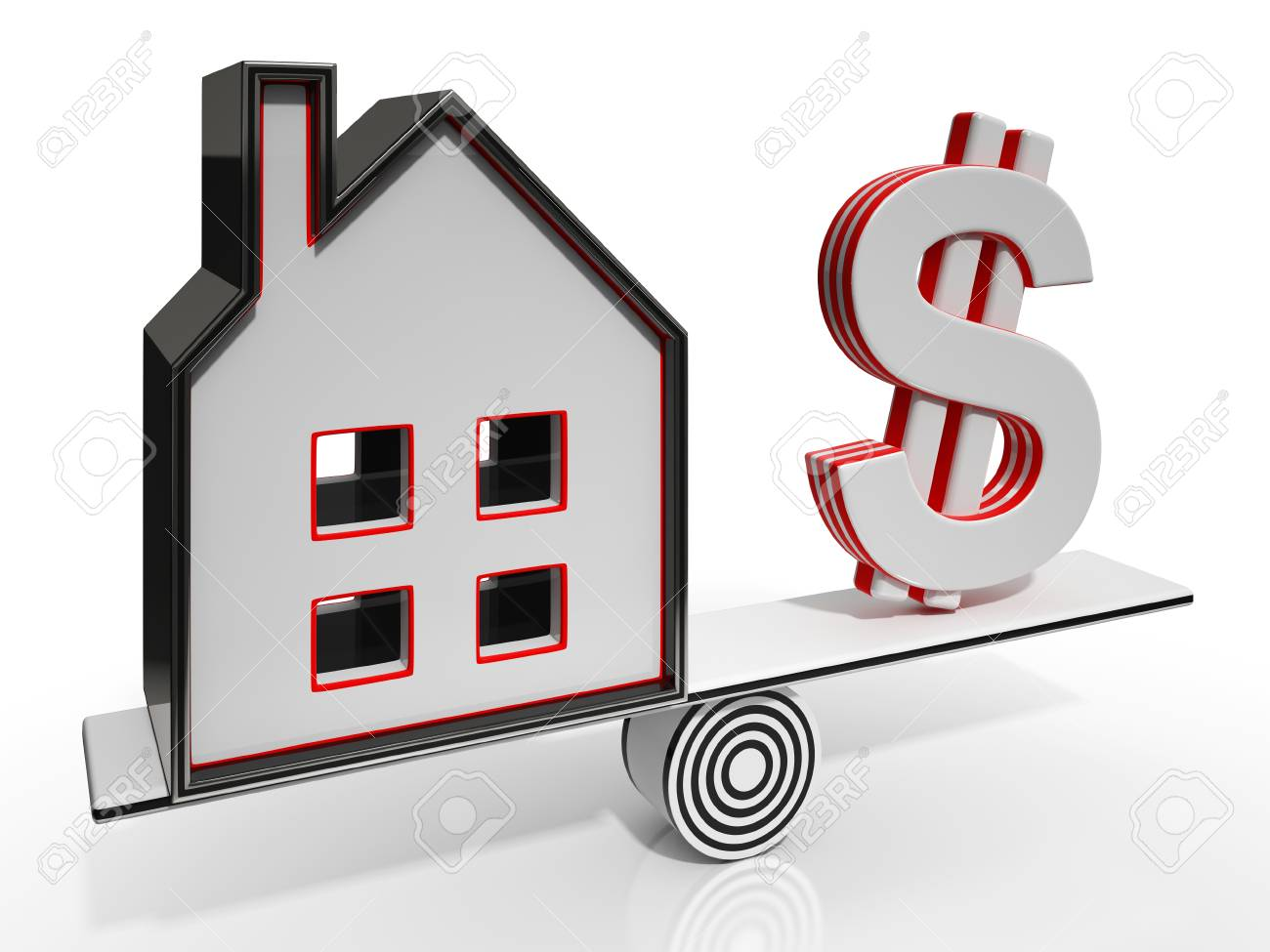 House And Dollar Balancing Showing Investment Or Mortgage Stock Photo - 26065502