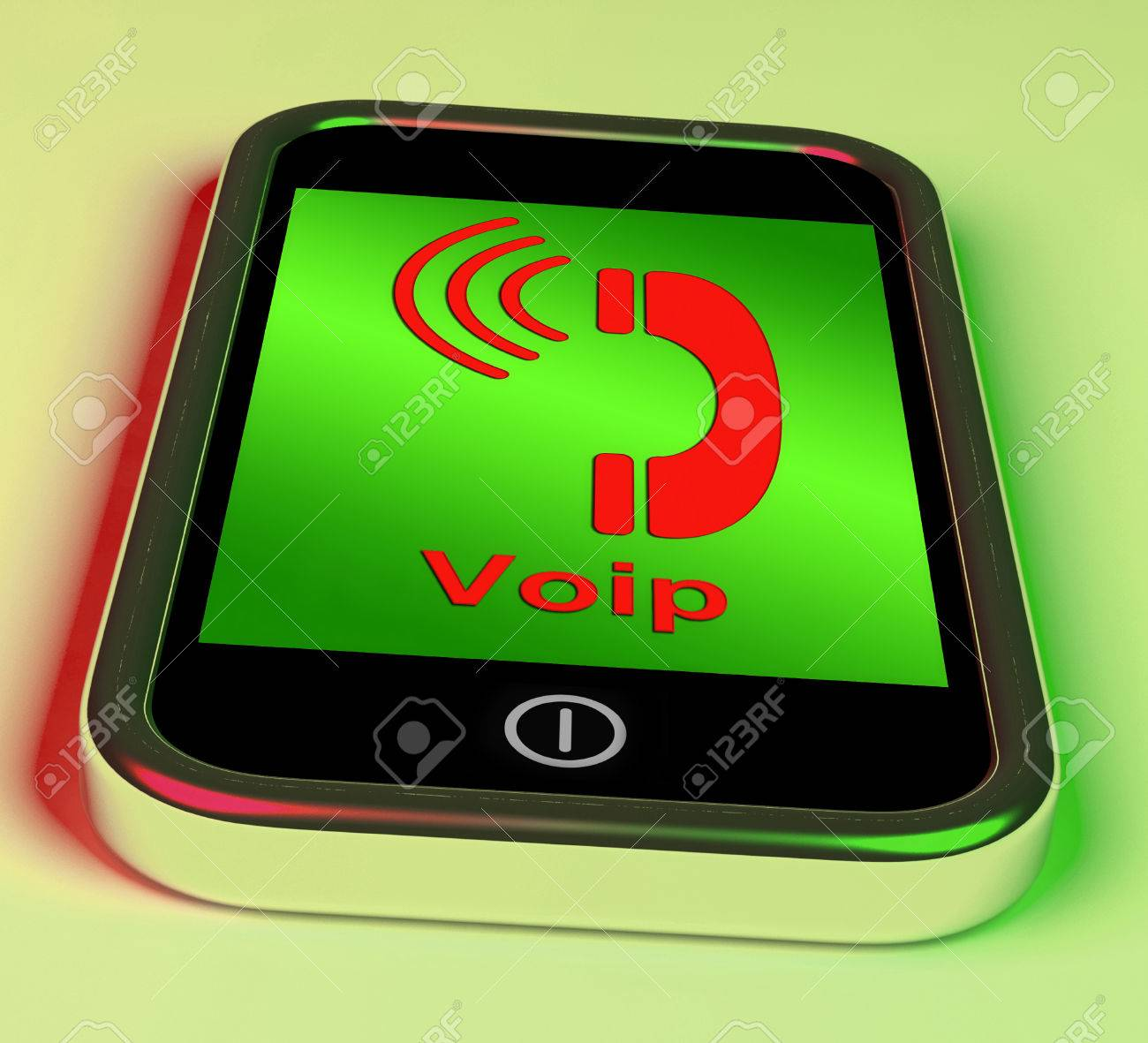 stock photo voip on phone showing voice over internet protocol or ip telephony
