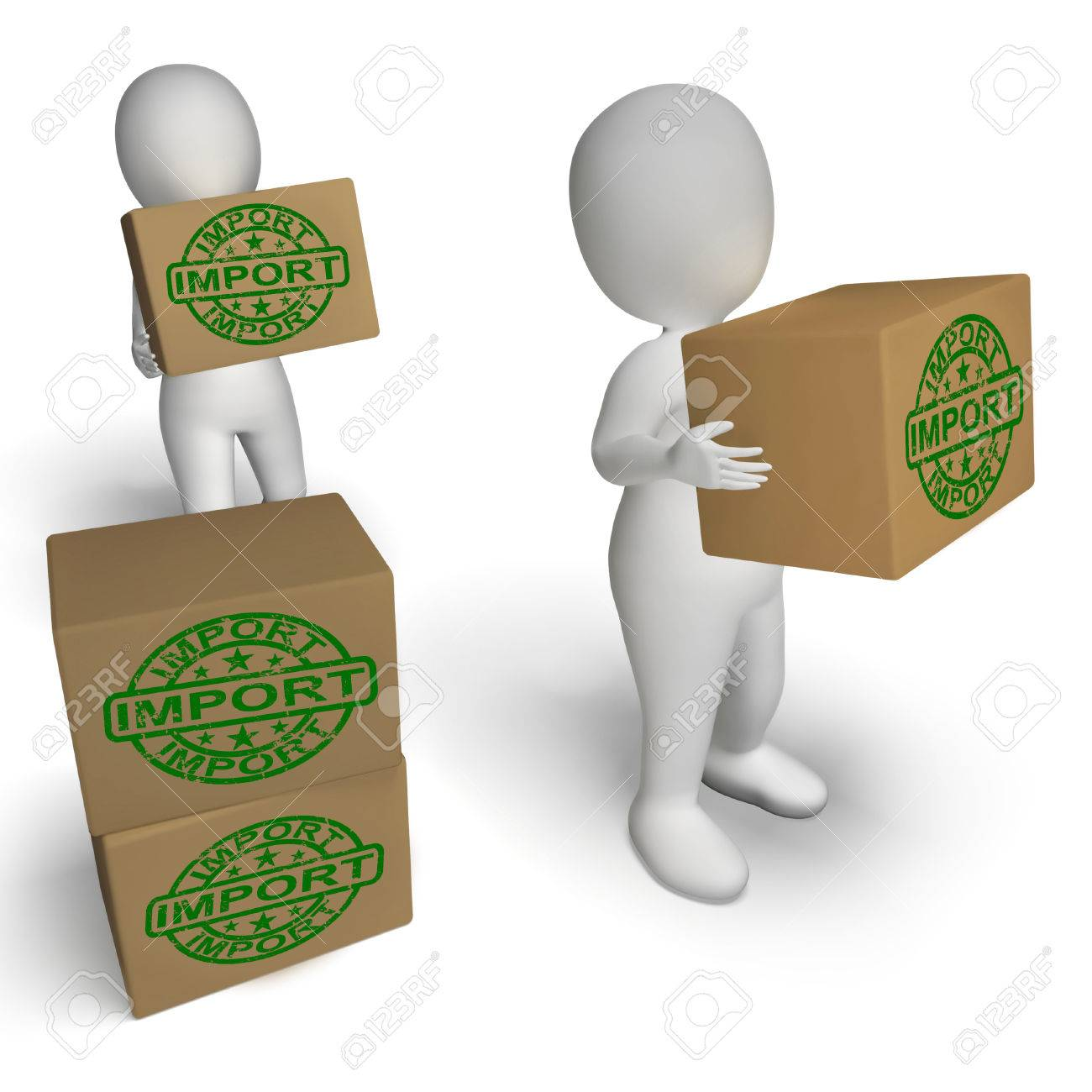 Import Boxes Showing Importing Goods and Merchandise Stock Photo - 26065702
