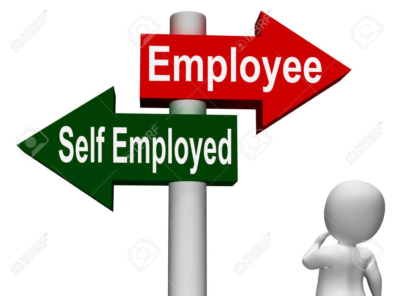 employee self employed signpost meaning choose career job choice employee self employed signpost meaning choose career job choice stock photo 26415641