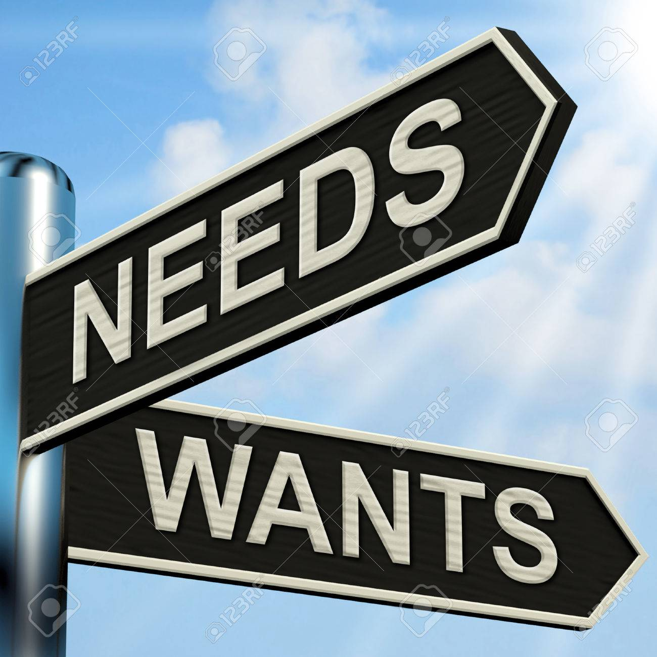 Needs Wants Signpost Meaning Necessity And Desire Stock Photo ...