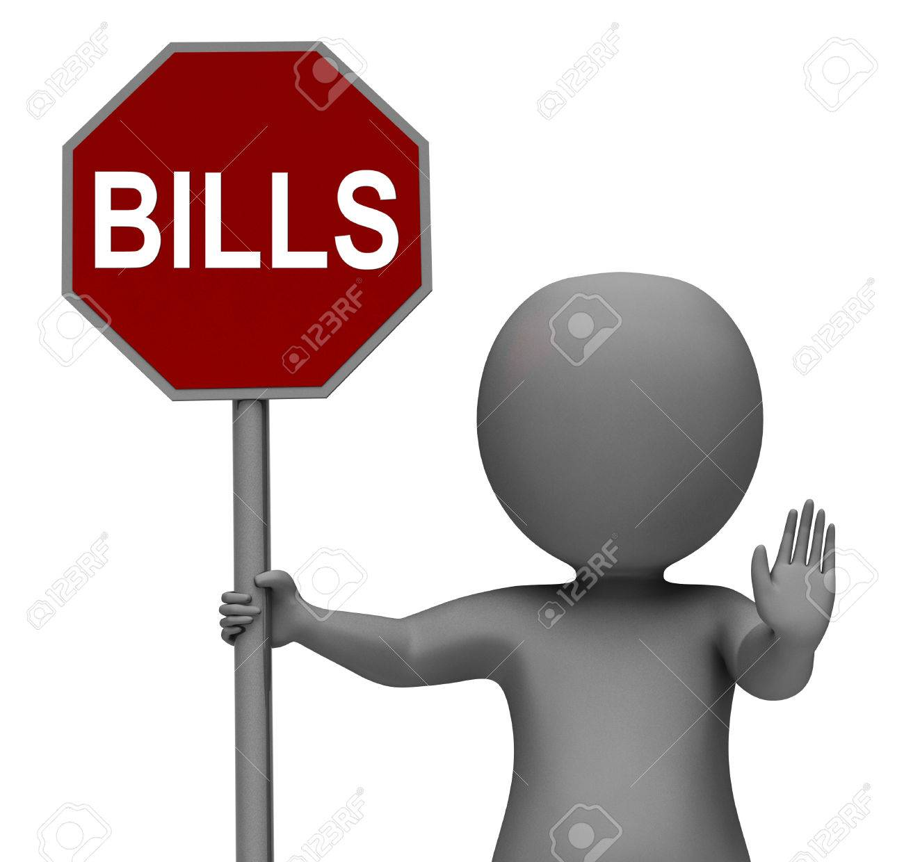 Bills Stop Sign Meaning Stopping Bill Payment Due Stock Photo - 26962962