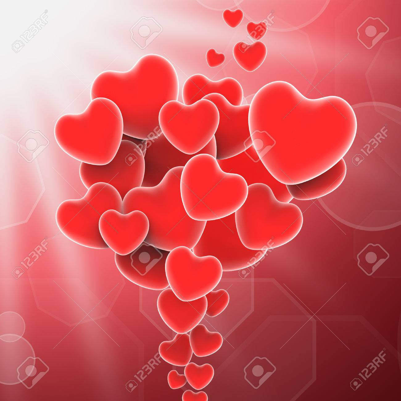 Bunch Of Hearts Means Sweet Love Or Romantic Couple Stock Photo