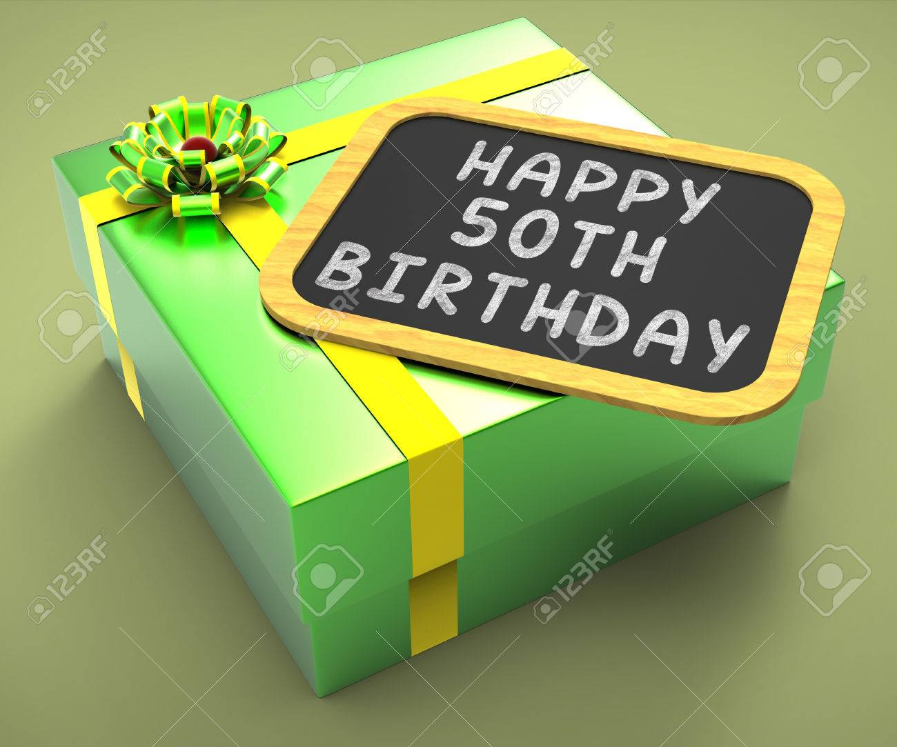 Happy Fiftieth Birthday Present Meaning Close Celebration Or Special Occasion Stock Photo