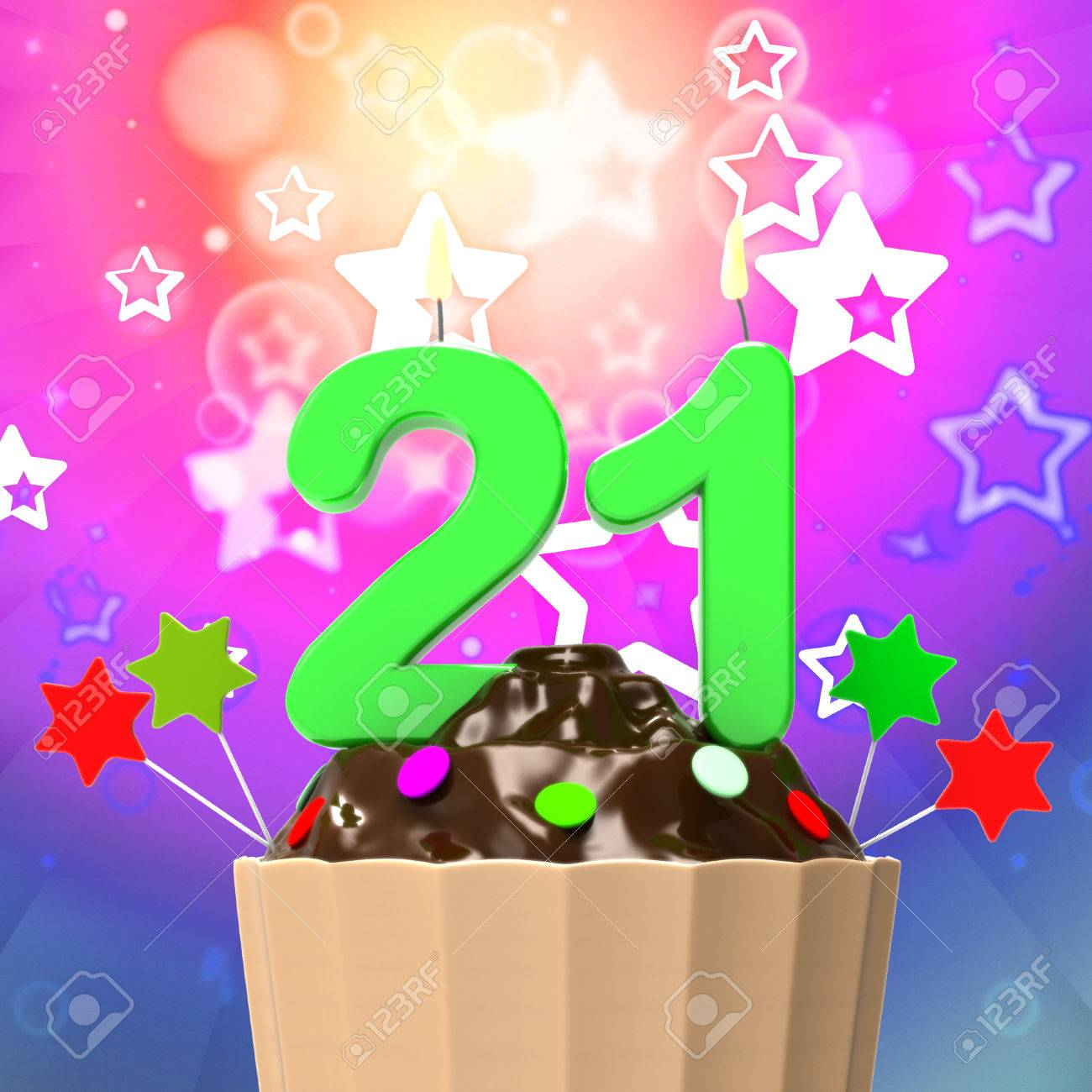 Twenty One Candle On Cupcake Meaning Colourful Celebration And