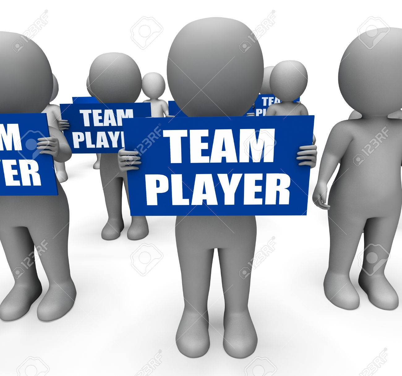 characters holding team player signs show teamwork partnership characters holding team player signs show teamwork partnership or teammate stock photo 27900352