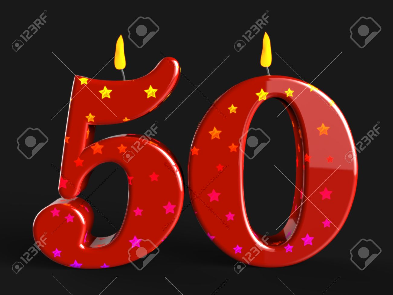 Number Fifty Candles Showing Fiftieth Birthday Or Celebration Stock Photo