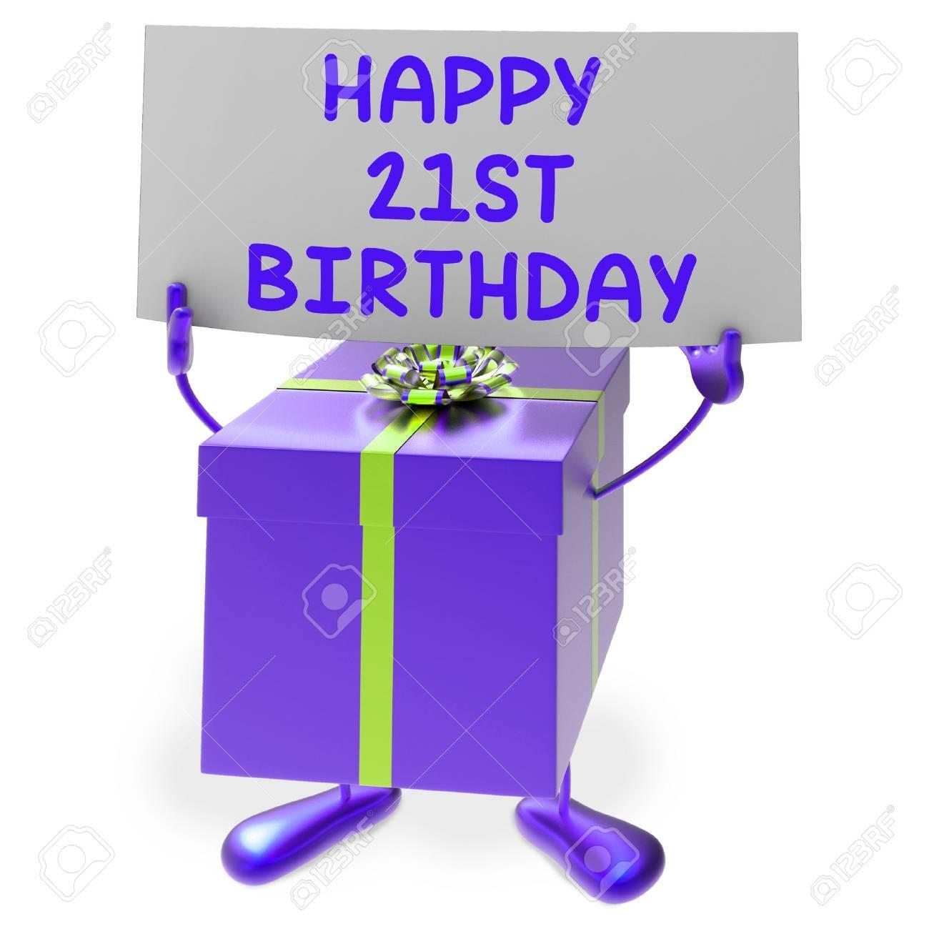 Glucklicher 21 Geburtstag Zeichen Und Geschenk Zeige Zwanzig Erste