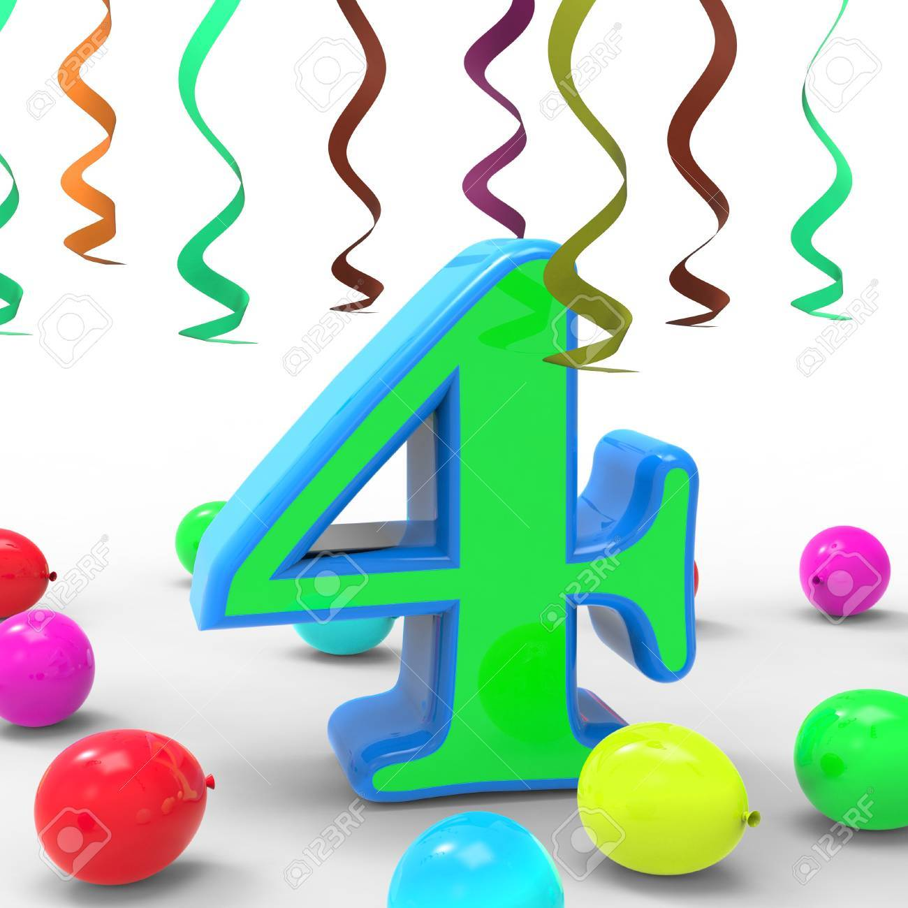 Number Four Party Meaning Colourful Birthday Party Or Celebration