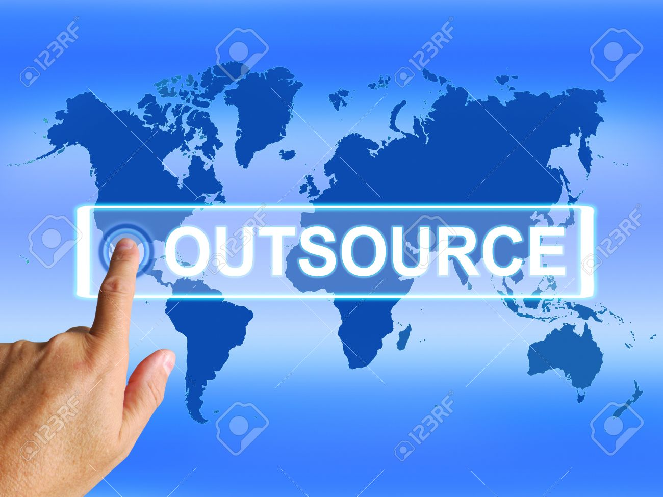 Outsource Map Meaning Worldwide Subcontracting or Outsourcing