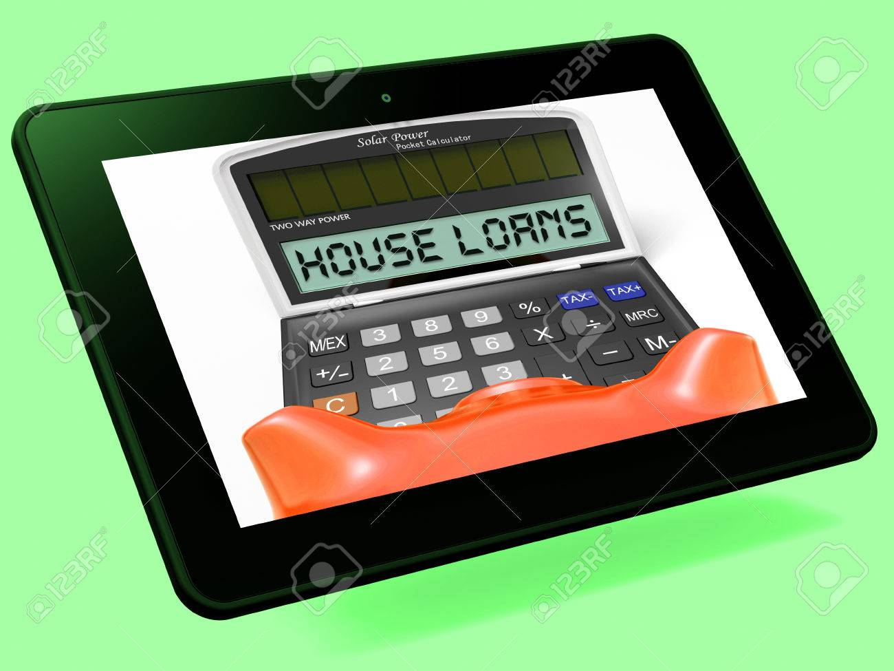 house loans calculator tablet showing mortgage and bank lending stock photo 29055135