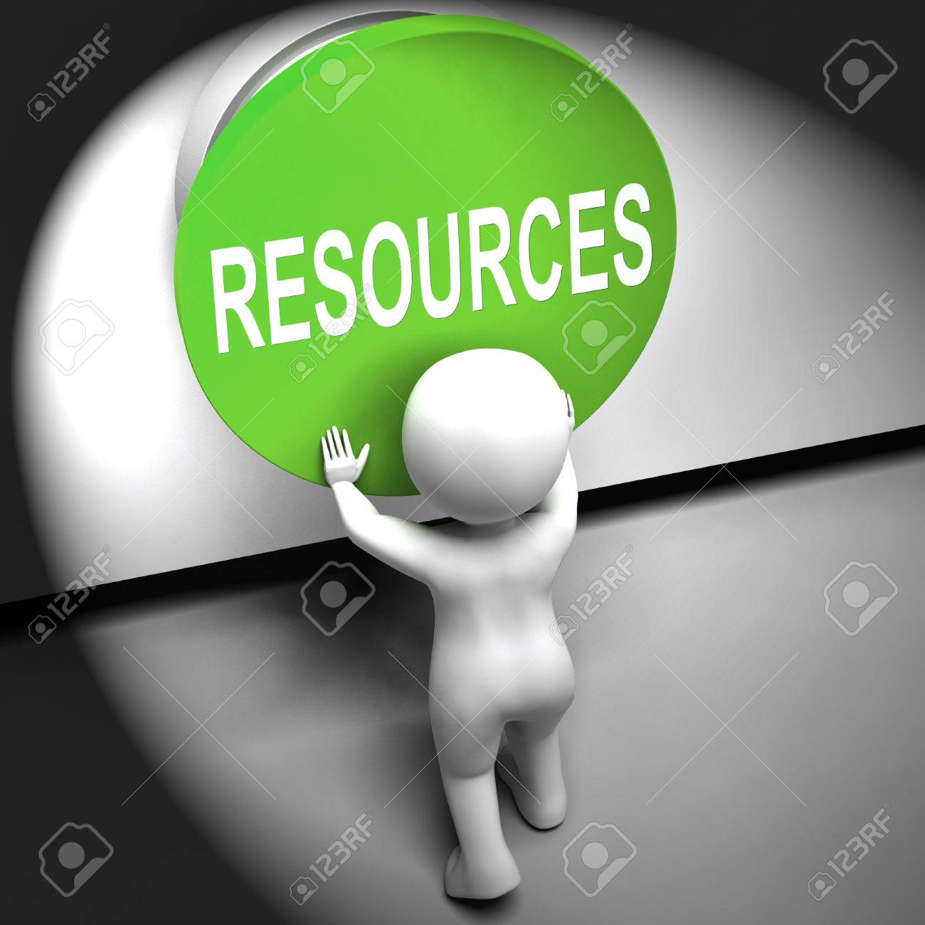 Resources Pressed Meaning Funds Capital Or Staff Stock Photo