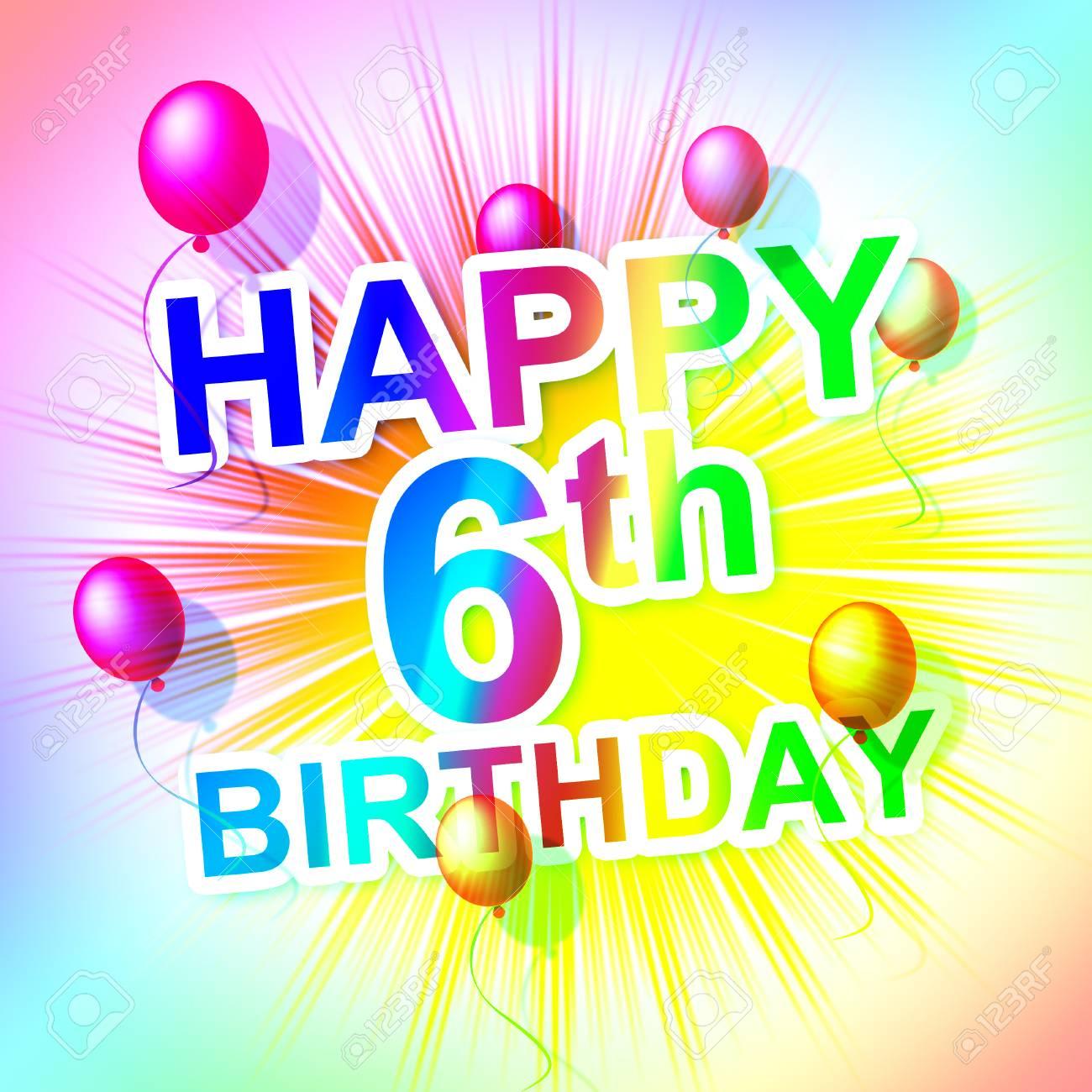Alles Gute Zum Geburtstag Anzeige Frohlich Six Und 6 Lizenzfreie