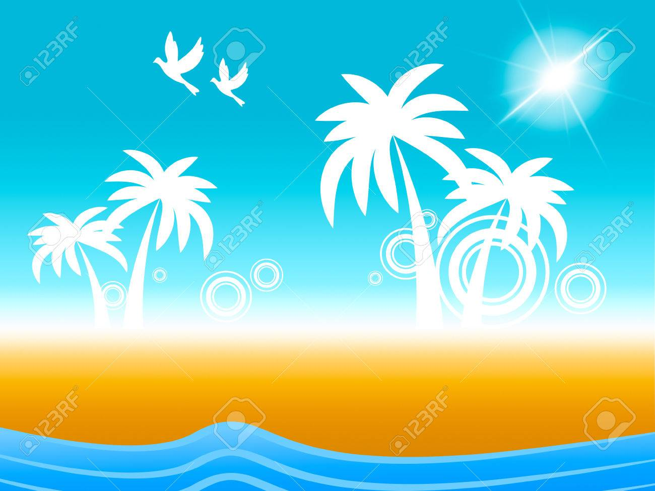 Tropical Island Meaning Flock Of Birds And Flock Of Birds