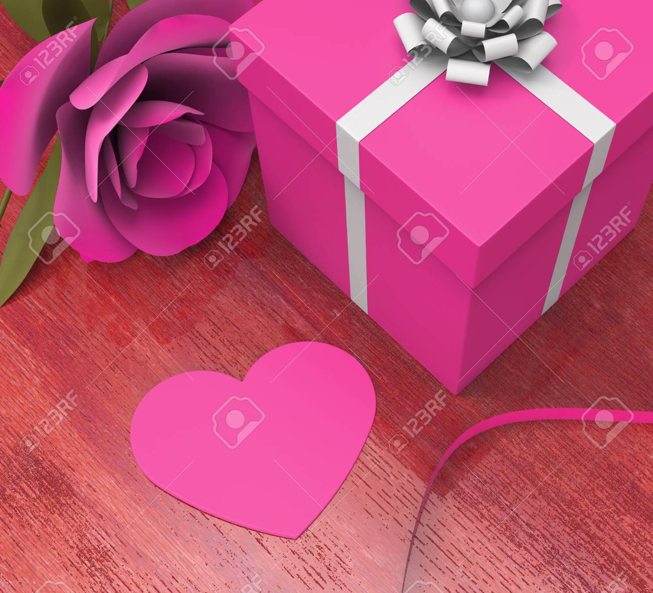 Gift Card Meaning Valentines Day And Bloom Stock Photo, Picture And ...