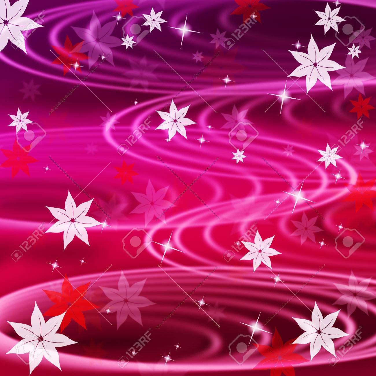 Pink Rippling Background Meaning Wavy Lines And Flowers Stock Photo