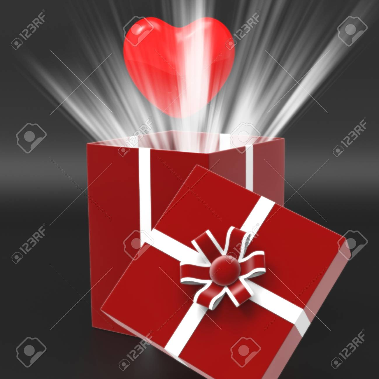 Giftbox Heart Meaning Valentine Day And Present Stock Photo Picture