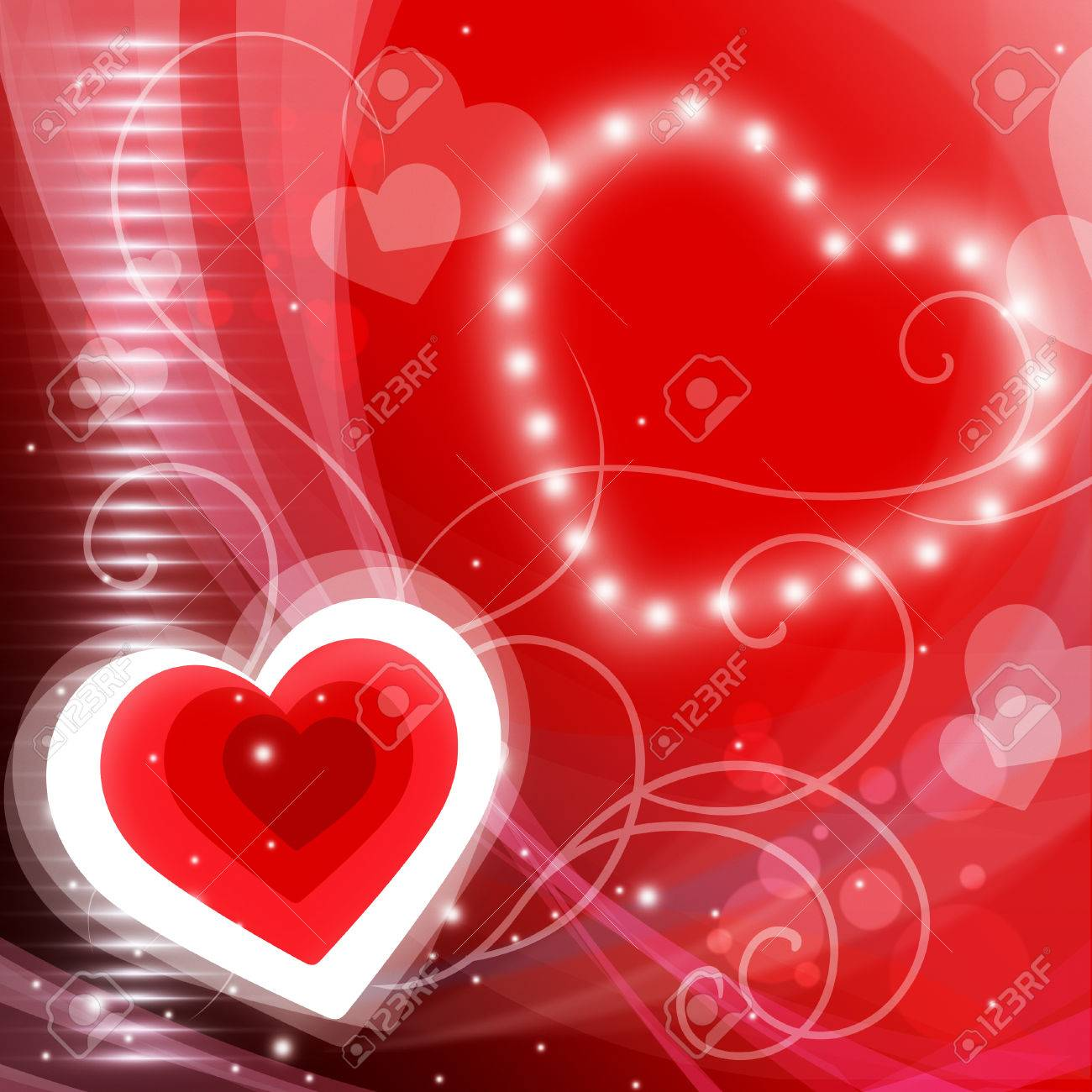 Heart Background Meaning Valentine Day And Glare Stock Photo