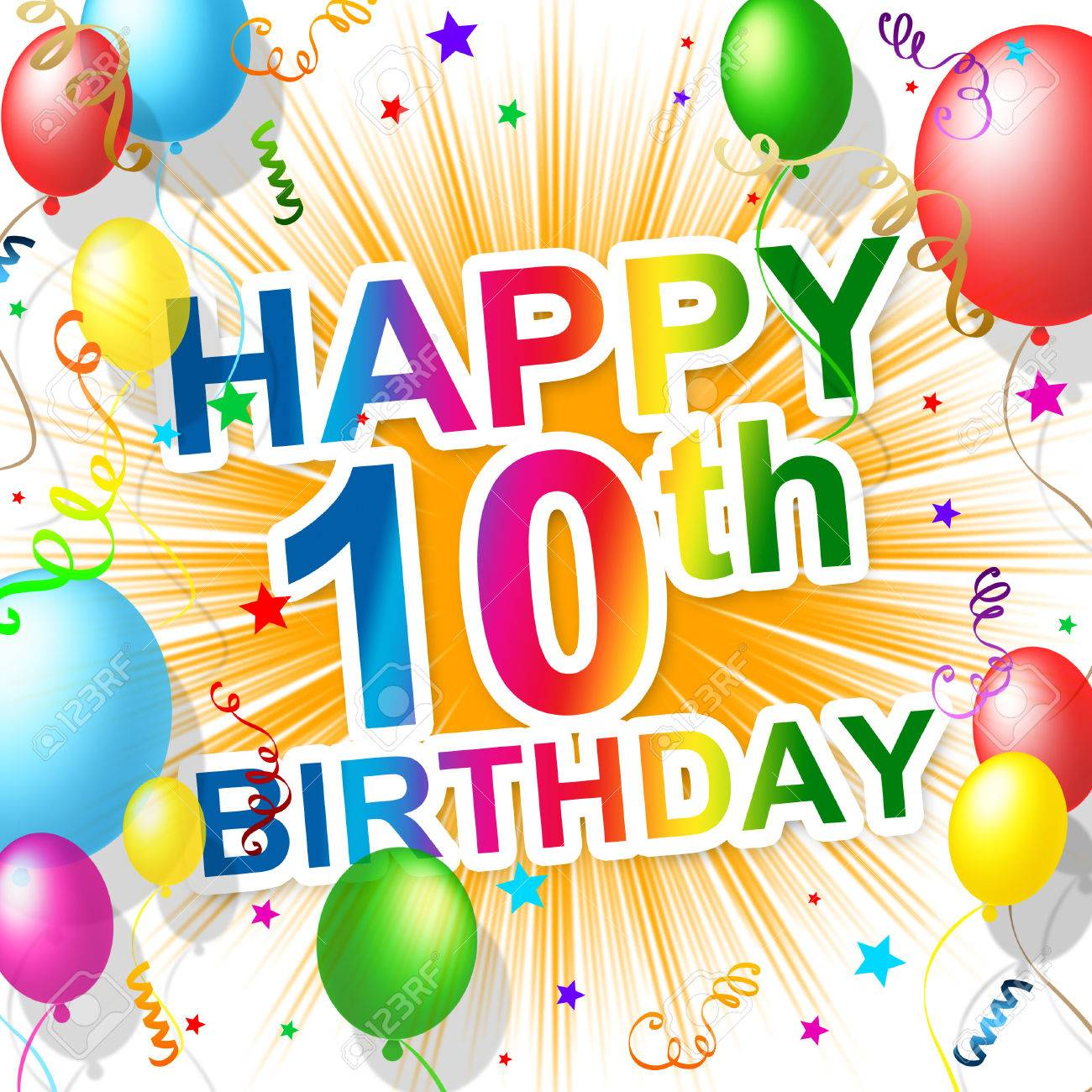 Birthday Tenth Meaning 10 Congratulating And Celebration Stock Photo