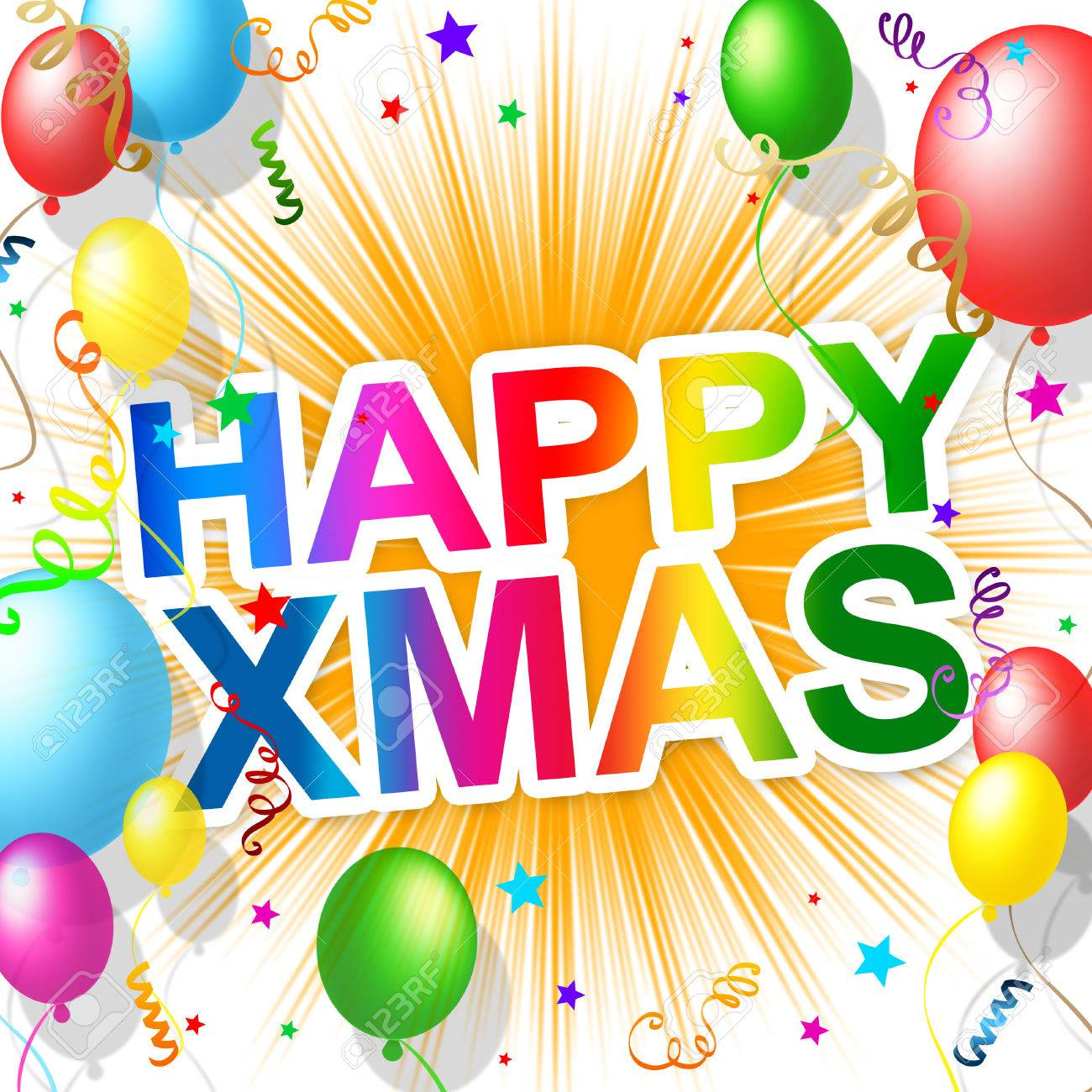 Happy Xmas Meaning Merry Christmas And Celebrate Stock Photo ...