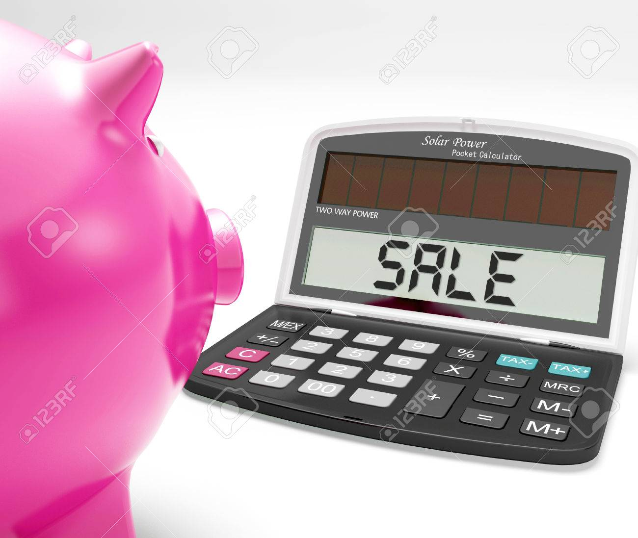 sale calculator showing price reduction or discounts stock photo