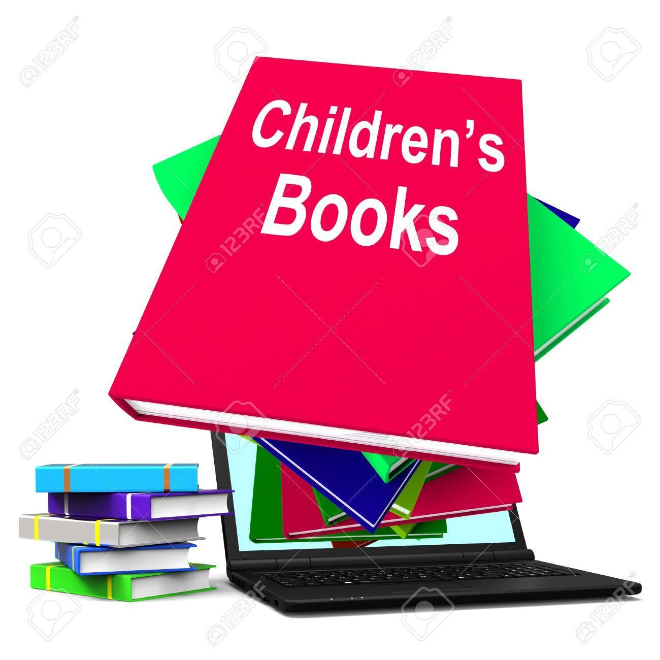 Kinderbücher Buch Stapel Laptop Zeige Lesen Für Kinder Lizenzfreie