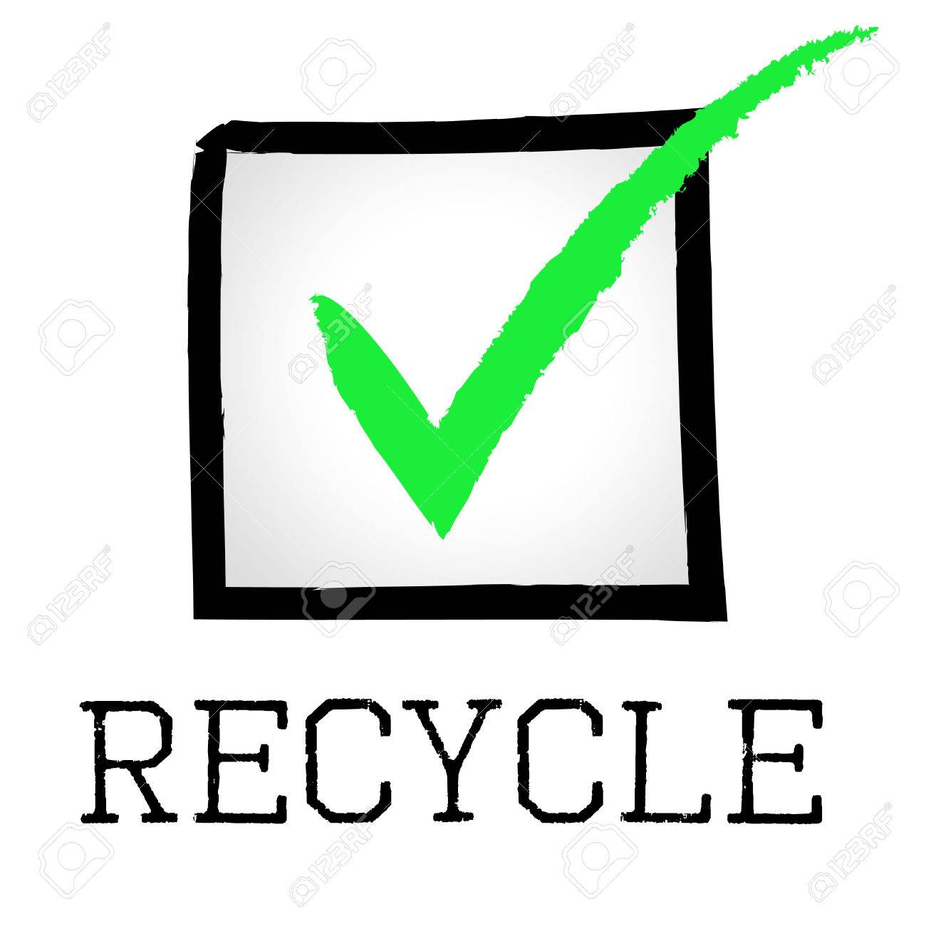 Tick Recycle Meaning Earth Friendly And Correct Stock Photo Picture