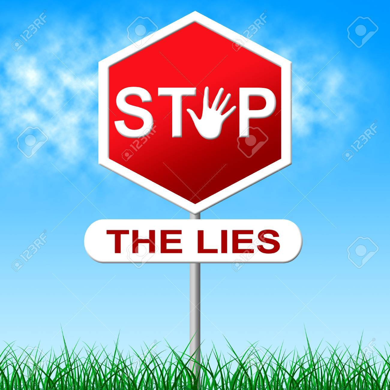 Stop Lies Meaning Warning Sign And Control
