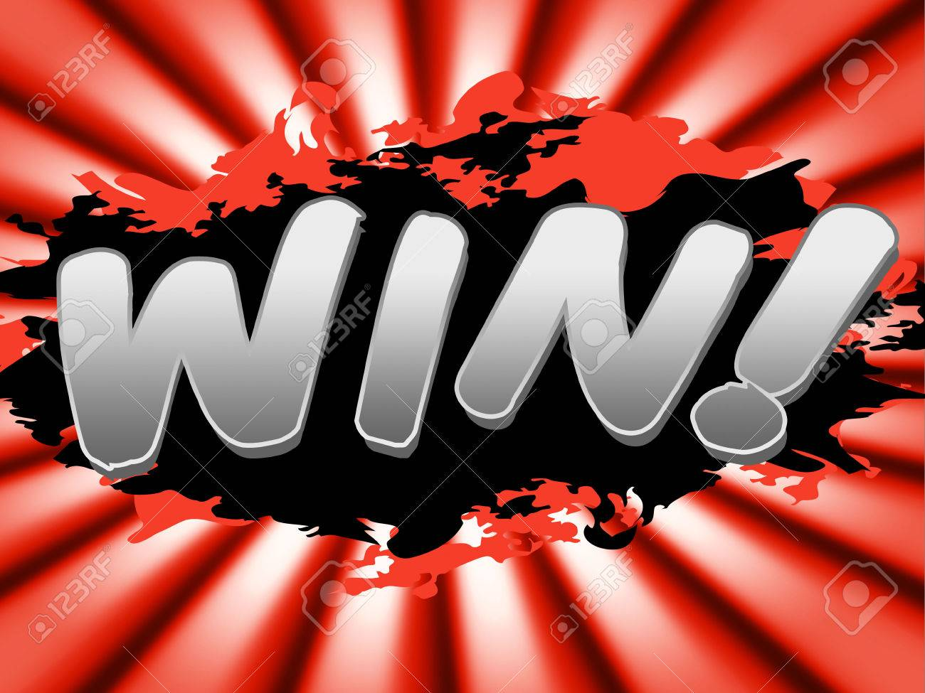 win sign representing successful placard and prevail stock photo